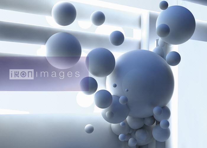 Abstract brightly lit floating light blue spheres - Abstract brightly lit floating light blue spheres - Jason Jaroslav Cook