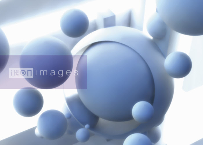 Abstract brightly lit floating light blue spheres - Abstract brightly lit floating light blue spheres - Jason Jaroslav Cook