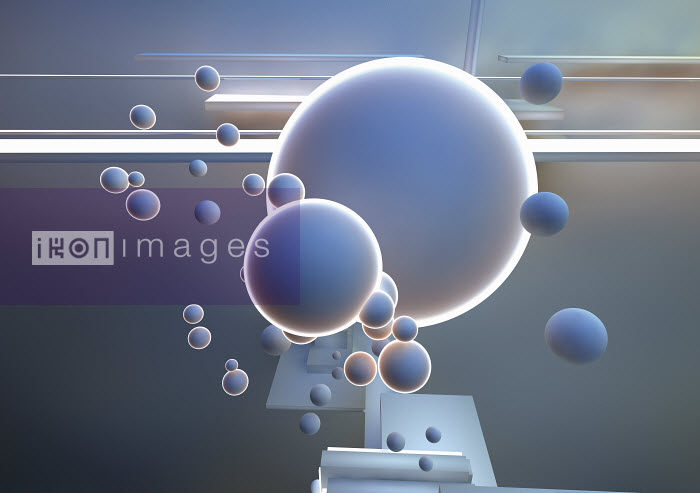 Abstract pattern of floating back lit bubbles and three dimensional shapes - Abstract pattern of floating back lit bubbles and three dimensional shapes - Jason Jaroslav Cook