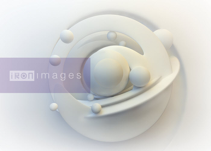Abstract white pattern of circles and orbiting spheres - Abstract white pattern of circles and orbiting spheres - Jason Jaroslav Cook