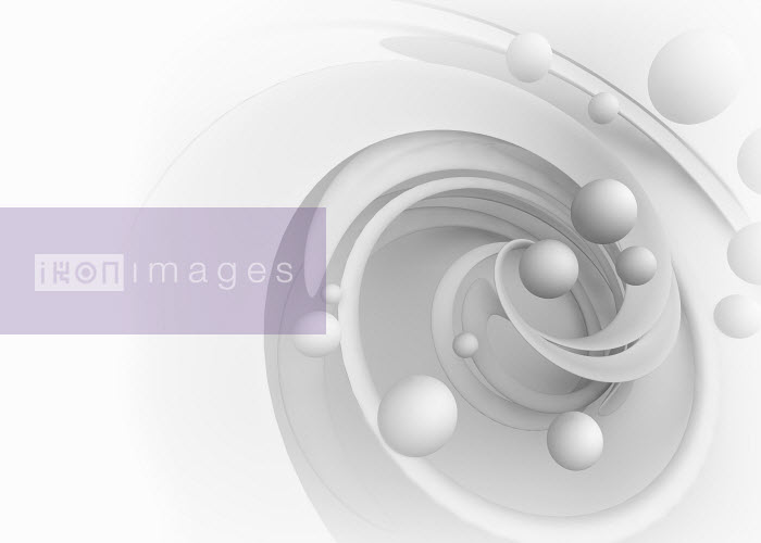 Abstract white pattern of swirling spiral and spheres - Abstract white pattern of swirling spiral and spheres - Jason Jaroslav Cook