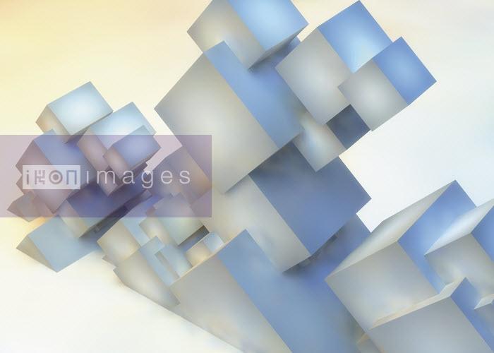 Abstract sculpture of slanting cube building blocks - Abstract sculpture of slanting cube building blocks - Jason Jaroslav Cook
