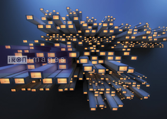 Abstract pile of girders with glowing bright lights - Abstract pile of girders with glowing bright lights - Jason Jaroslav Cook