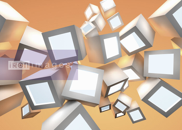 Abstract pattern of floating illuminated cubes - Abstract pattern of floating illuminated cubes - Jason Jaroslav Cook