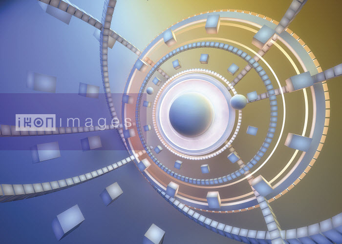 Abstract pastel color pattern of cubes and concentric circles around glowing sphere - Abstract pastel color pattern of cubes and concentric circles around glowing sphere - Jason Jaroslav Cook