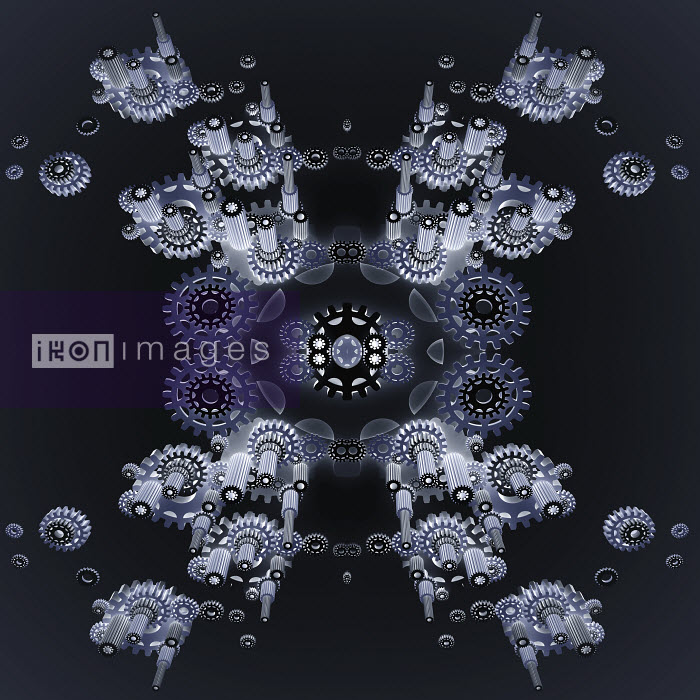 Abstract symmetrical pattern of three dimensional cogs interlocking - Abstract symmetrical pattern of three dimensional cogs interlocking - Jason Jaroslav Cook