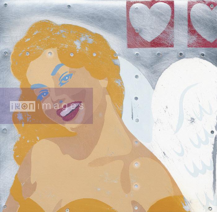 Glamorous woman with wings smiling - Glamorous woman with wings smiling - Andy Bridge
