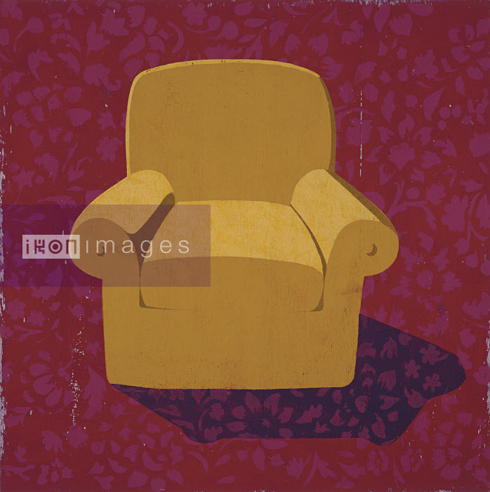 Armchair against patterned wall paper - Armchair against patterned wall paper - Andy Bridge