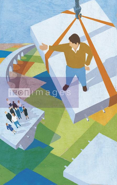 Man descending on final piece of concrete highway - Man descending on final piece of concrete highway - Andy Bridge