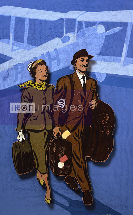 Elegant man and woman walking on tarmac with airplane in background - Elegant man and woman walking on tarmac with airplane in background - Andy Bridge