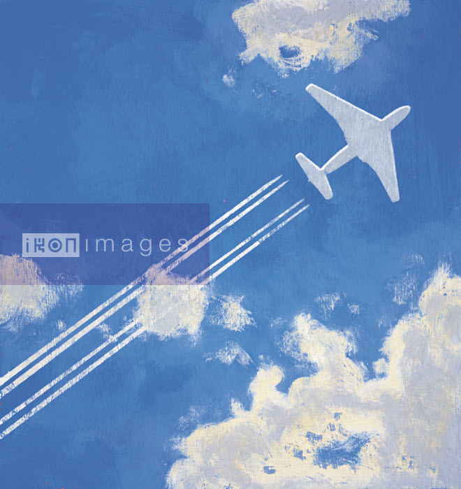 Airplane flying and leaving contrail - Airplane flying and leaving contrail - Andy Bridge