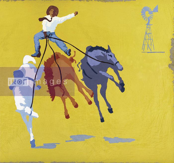 Cowboy riding bucking broncos - Cowboy riding bucking broncos - Andy Bridge