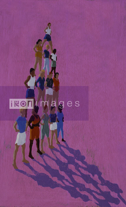 People standing on shoulders creating human pyramid - People standing on shoulders creating human pyramid - Andy Bridge