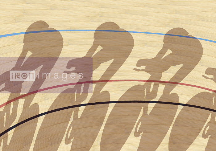 Cyclists casting shadows on indoor track - Cyclists casting shadows on indoor track - Andy Bridge