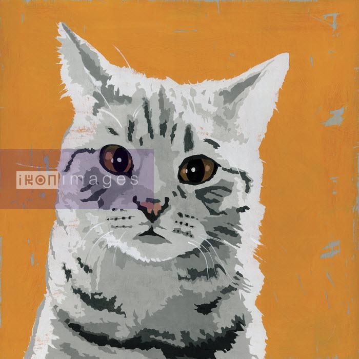 Painting of tabby cat - Andy Bridge