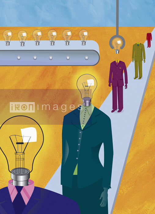 Business people with light bulb heads - Business people with light bulb heads - Gary Bates