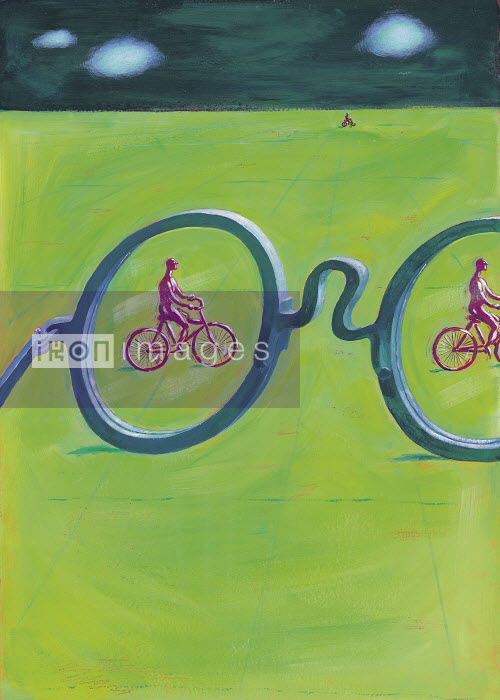 Large glasses and men riding bicycles - Large glasses and men riding bicycles - Gary Bates
