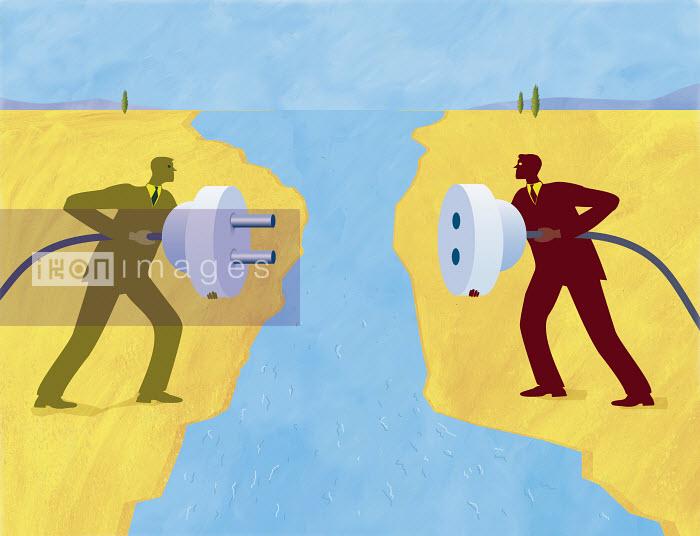 Businessmen holding plug and socket - Businessmen holding plug and socket - Gary Bates
