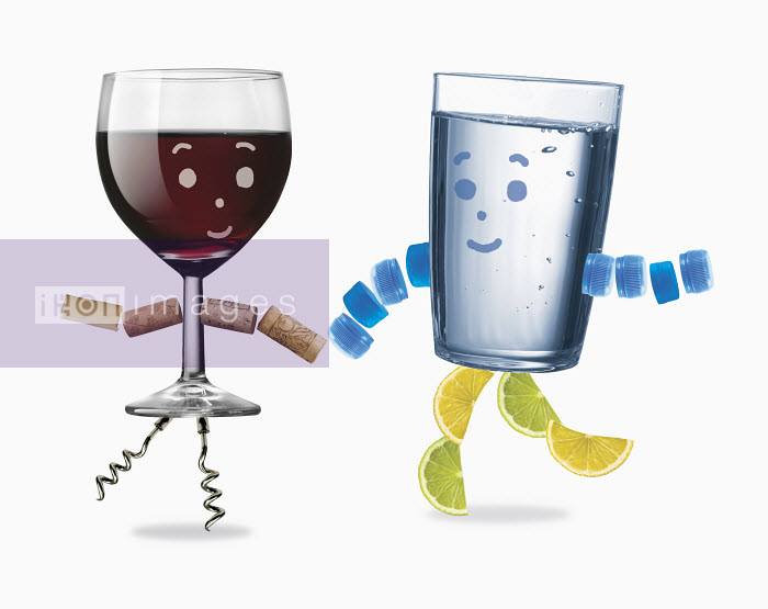 Glass of water and red wine - Glass of water and red wine - Gary Bates