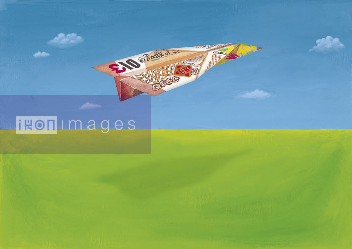 This image was generated using WaterMark, designed and engineered by HighWater Designs Ltd - British 10 pound note in shape of airplane - Gary Bates