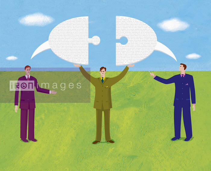 Businessmen and speech bubble shaped as puzzle piece - Businessmen and speech bubble shaped as puzzle piece - Gary Bates