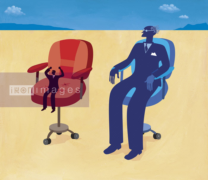 This image was generated using WaterMark, designed and engineered by HighWater Designs Ltd - Small and large businessmen sitting in chairs - Gary Bates