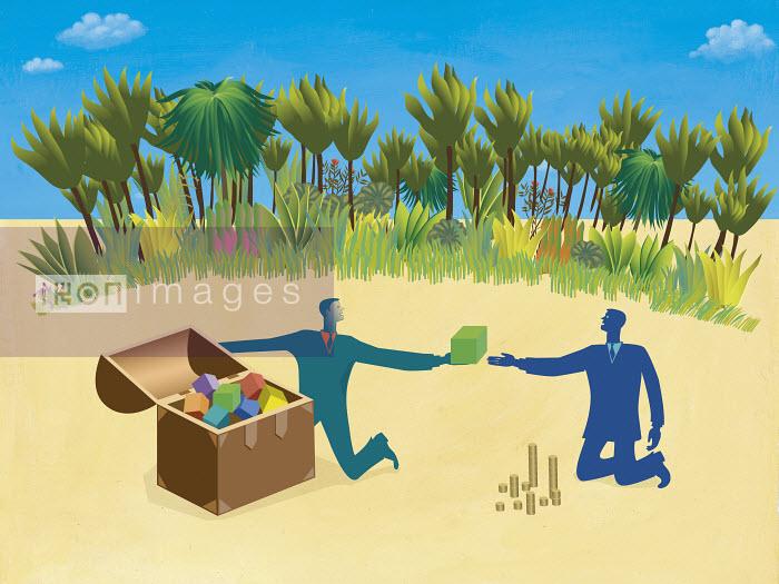 Businessmen finding buried treasure - Businessmen finding buried treasure - Gary Bates