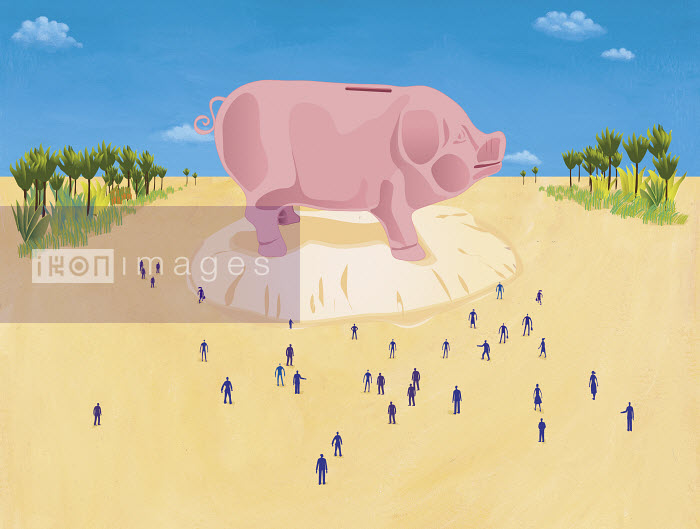 This image was generated using WaterMark, designed and engineered by HighWater Designs Ltd - People looking at large piggy bank - Gary Bates