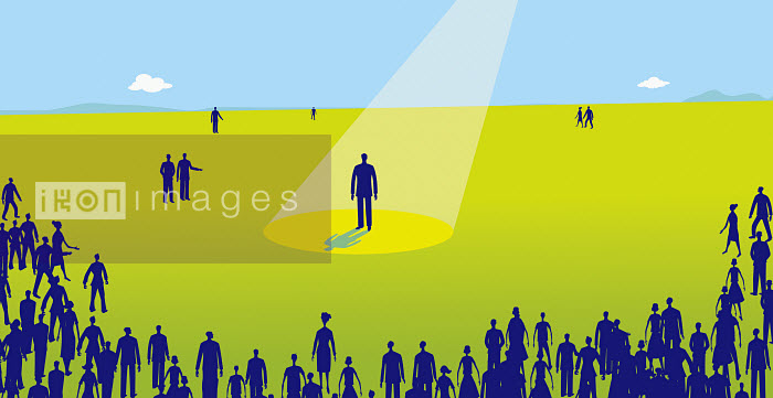 This image was generated using WaterMark, designed and engineered by HighWater Designs Ltd - Audience watching man standing in spotlight - Gary Bates