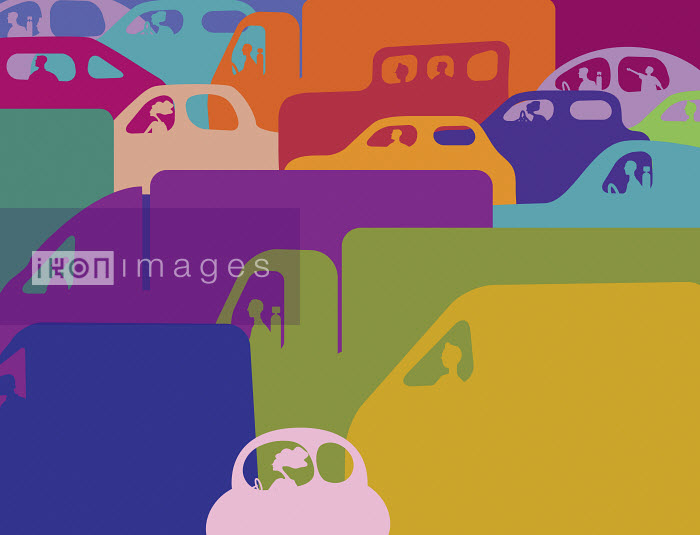 Colorful traffic jam of cars and trucks - Colorful traffic jam of cars and trucks - Gary Bates