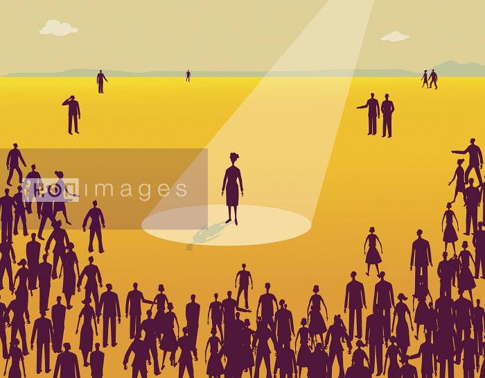 Crowd of people watching woman in spotlight - Crowd of people watching woman in spotlight - Gary Bates