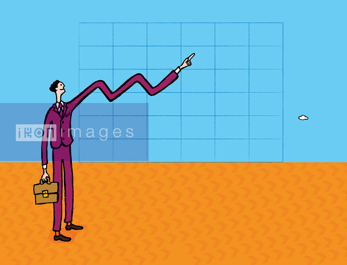 Businessman�s arm forming line on graph - Businessman�s arm forming line on graph - Gary Bates