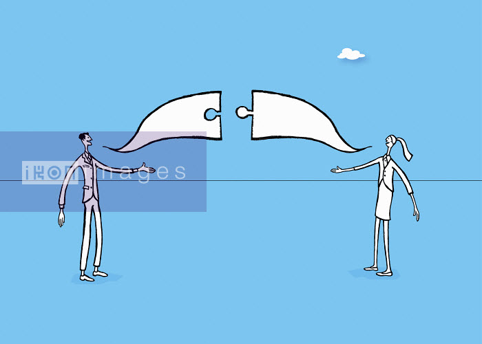 Businessman and businesswoman agreeing in connecting jigsaw puzzle piece speech bubbles - Businessman and businesswoman agreeing in connecting jigsaw puzzle piece speech bubbles - Gary Bates