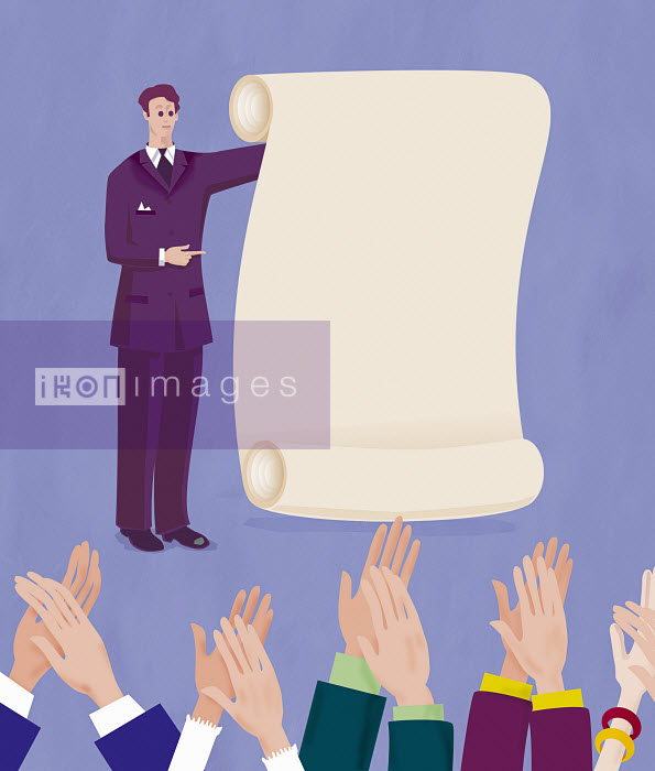 Businessman presenting document to applauding audience - Businessman presenting document to applauding audience - Gary Bates