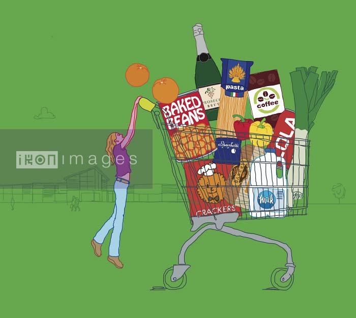 Woman struggling to push huge shopping trolley - Woman struggling to push huge shopping trolley - Gary Bates