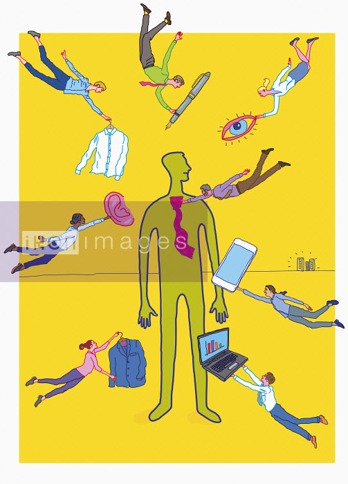 Lots of people helping businessman to get ready - Lots of people helping businessman to get ready - Gary Bates