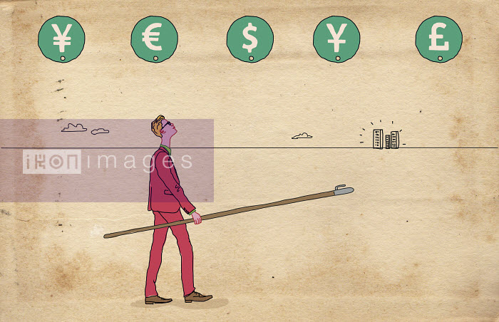 Businessman with pole and hook choosing currency - Gary Bates