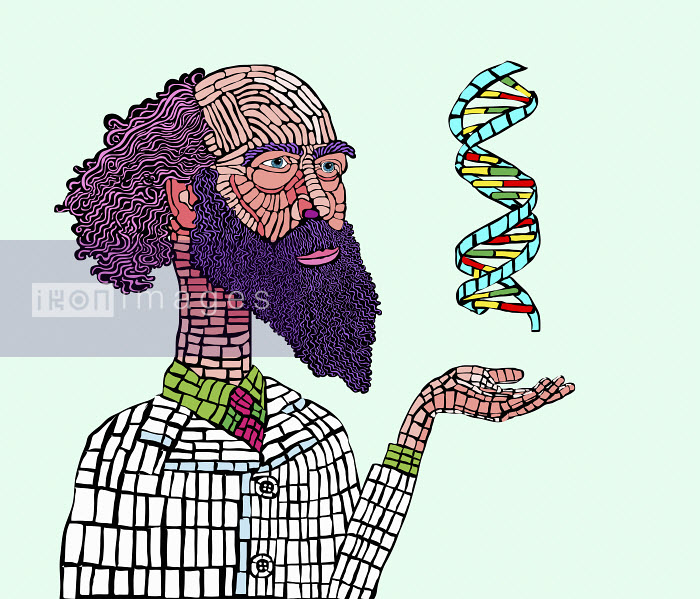 Scientist studying DNA double helix - Gary Bates
