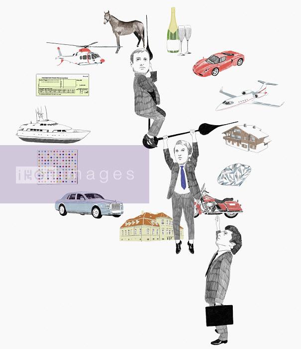 Businessmen hanging on clock hands - Businessmen hanging on clock hands - James Taylor