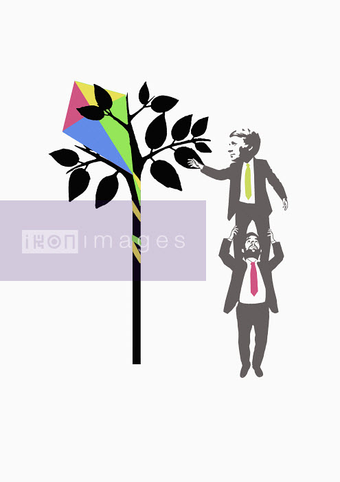 Businessman getting kite from tree - Businessman getting kite from tree - James Taylor