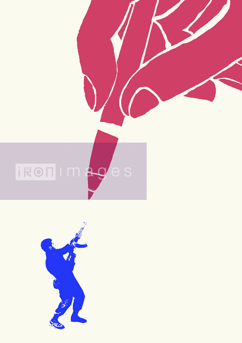 Man shooting at large pencil - Man shooting at large pencil - James Taylor
