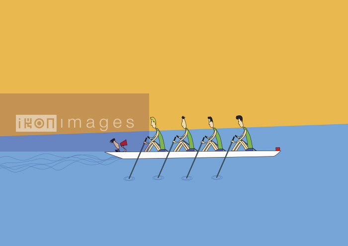 Trainer coaching crew team rowing boat - Trainer coaching crew team rowing boat - Oscar Armelles