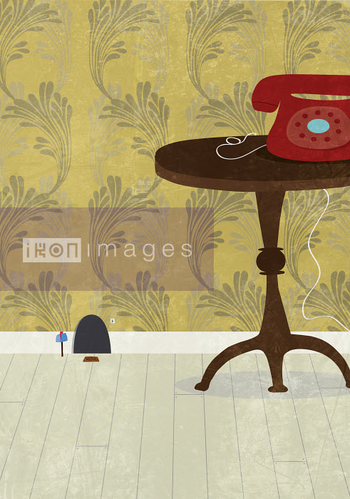 Mouse hole next to table and telephone - Mouse hole next to table and telephone - Oscar Armelles