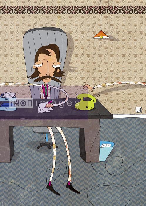 Retro-styled businessman working at desk - Retro-styled businessman working at desk - Oscar Armelles