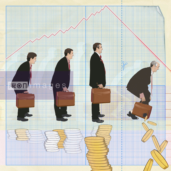 Businessmen standing over stacks of coins - Businessmen standing over stacks of coins - Redseal