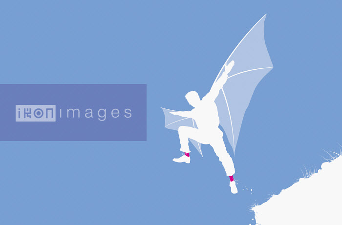 Man with wings jumping from cliff - Man with wings jumping from cliff - Redseal