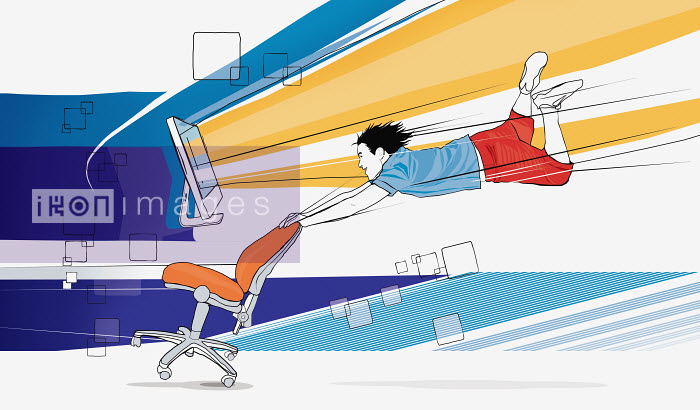 Man being blown by strong wind from computer monitor - Man being blown by strong wind from computer monitor - Redseal