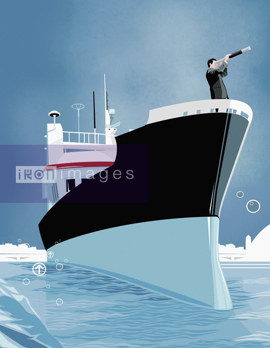 Business man using telescope on bow of ship - Business man using telescope on bow of ship - Redseal