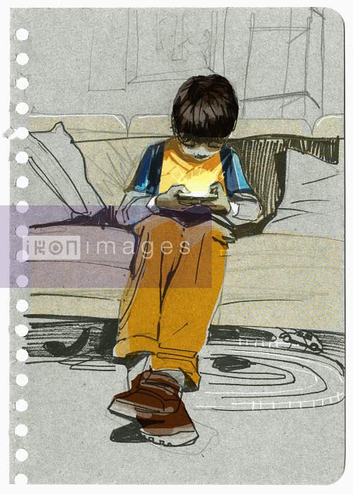 Boy playing video game - Boy playing video game - Alex Green