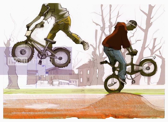 Boys riding bicycles - Boys riding bicycles - Alex Green